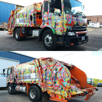 French Trip, acrylic wrap on recycling truck, 2015