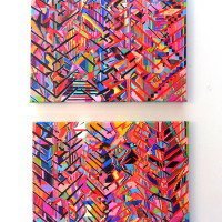 "100% Acrylic, acrylic on cut canvas, 24"" x 30"" (each), 2015"