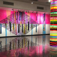 100% Acrylic, acrylic and phototex installation with canvas. Cal Poly, San Luis Obisbo, CA